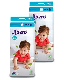 Libero Baby Diaper Extra Large - 36 Pieces Pack Of 2