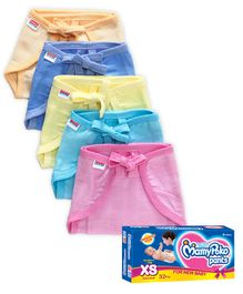 Babyhug U Shape Muslin Nappy Set Lace Extra Small Pack Of 5 - Multicolor And Mamy Poko Pant Style Diaper Extra Small - 32 Pieces