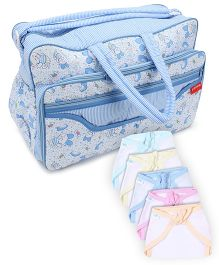 Babyhug U Shape Muslin Nappy Set Medium Pack Of 5 - Multicolor- 1 Qty and Sapphire Blue Diaper Bag - Rabbit Print- 1 Qty