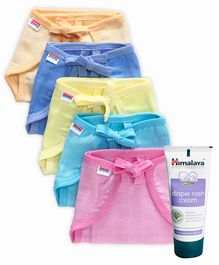 Babyhug U Shape Muslin Nappy Set Lace Extra Small Pack Of 5 - Multicolor- 1 Qty and Himalaya Herbal Diaper Rash Cream - 50 grams- 1 Qty