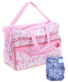 Babyhug Free Size Reusable Cloth Diaper With Insert Offissima Denim Pattern - Blue- 1 Qty and Sapphire Diaper Bag Pink Teddy Print - 20 x 42 x 28 Cm- 1 Qty