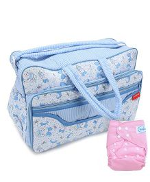 Babyhug Free Size Reusable Cloth Diaper With Insert - Light Pink- 1 Qty and Sapphire Blue Diaper Bag - Rabbit Print- 1 Qty