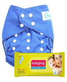 Babyhug Free Size Reusable Cloth Diaper With Insert - Blue- 1 Qty and Babyhug Premium Baby Wipes - 80 Pieces - 1 Qty