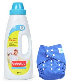 Babyhug Free Size Reusable Cloth Diaper With Insert - Blue- 1 Qty and Babyhug Liquid Laundry Detergent - 550 ml- 1 Qty