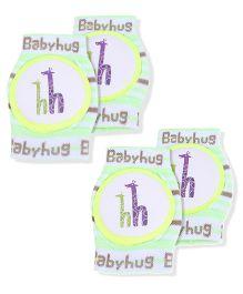 Babyhug Knee Protection Pads Giraffe Print - Green And White Pack Of 2