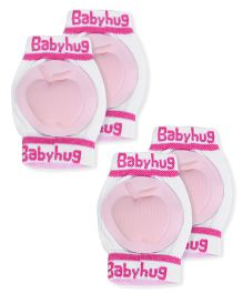 Babyhug Knee Protection Pads Apple Design - Light Pink & White (Pack of 2)