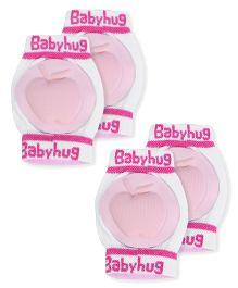 Babyhug Knee Protection Pads Apple Design - Light Pink & White Pack of 2