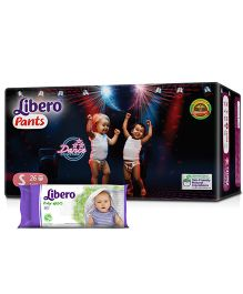 Libero Pant Style Diapers Small - 26 Pieces & Libero Baby Wet Wipes - 80 Pieces