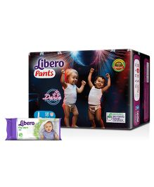 Libero Pant Style Diapers Large - 18 Pieces & Libero Baby Wet Wipes - 80 Pieces