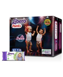 Libero Pant Style Diapers Extra Large - 16 Pieces & Libero Baby Wet Wipes - 80 Piece