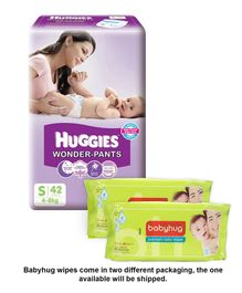Huggies Wonder Pants Small Pant Style Diapers - 42 Pieces & Pack Of 2 Babyhug Premium Baby Wipes - 80 Pieces