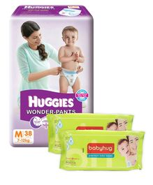 Huggies Wonder Pants Medium Size Pant Style Diapers - 38 Pieces & Pack Of 2 Babyhug Premium Baby Wipes - 80 Pieces