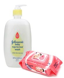 Johnson's baby Top to Toe Wash - 500 ml and 	Johnson's baby Skincare Wipes - 80 Pieces