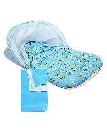 Morisons Baby Dreams Mosquito Net Bed Bee Theme - Blue and 	Quick Dry Bed Protector Blue - Small