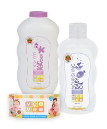 Mee Mee Hand and Mouth Baby Wipes 80 Pieces AND Mee Mee - Soft Body Lotion AND Mee Mee - Nourishing Baby Oil AND Mee Mee - Fresh Feel Baby Powder