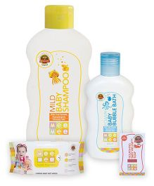 Mee Mee Caring Baby Wet Wipes With Lemon Fragrance - 72 Pieces AND Mee Mee - Mild Baby Shampoo AND Mee Mee - Foamy Baby Bubble Bath AND  Mee Mee Nourishing Baby Wellness Soap