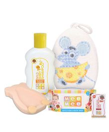 Mee Mee Bath Sponge Mouse Print- Blue AND Mee Mee Baby Bather - Light Peach AND Mee Mee Nourishing Baby Wellness Soap AND Mee Mee - Mild Baby Shampoo AND Mee Mee Hand and Mouth Baby Wipes 80 Pieces
