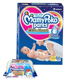 Mamy Poko Extra Absorb Pant Style Diapers Small - 60 Pieces & Mamy Poko Pure & Soft Baby Wipes With Pop Up Box & Mild Fragrance- 50 Pieces
