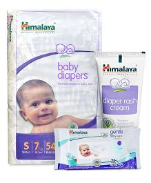Himalaya Herbal Baby Diapers Small - 54 Pieces and Himalaya Herbal Diaper Rash Cream - 50 gm and Himalaya Herbal Gentle Baby Wipes 72 Pieces