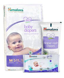 Himalaya Herbal Baby Diapers Medium - 54 Pieces and Himalaya Herbal Diaper Rash Cream - 50 gm and Himalaya Herbal Gentle Baby Wipes 72 Pieces
