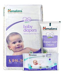 Himalaya Herbal Baby Diapers Large - 54 Pieces and Himalaya Herbal Diaper Rash Cream - 50 gm and 	Himalaya Herbal Gentle Baby Wipes 72 Pieces