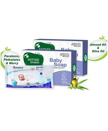 Himalaya Herbal Gentle Baby Wipes 72 Pieces and Mother Sparsh Ayurvedic Baby Soap - 75 gm pack of 2
