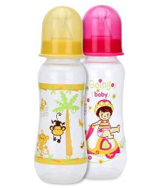 Mee Mee Polypropylene Plastic Premium Feeding Bottle - 250 ml-Pack of 2 (Yellow, Pink)