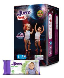 Libero Pant Style Diapers Large - 8 Pieces & Libero Baby Wet Wipes - 80 Pieces