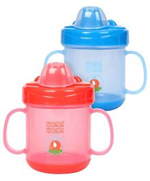 Mee Mee Twin Handle Non Spill Cup - Pack of 2(Red, Blue)