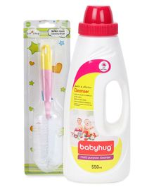 Babyhug Liquid Multi Purpose Cleanser - 550 ml AND 1st Step Bottle And Nipple Brush