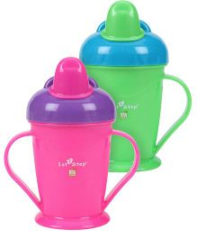 1st Step Spill Proof Cup With Handle- 180 ml - Pack of 2 (Green, Dark Pink)