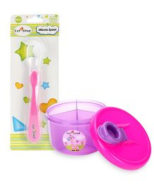 1st Step Milk Powder Container - Pink AND 1st Step Silicone Spoon - Pink
