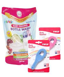 Farlin - Rubber Gum Soother AND Farlin Baby Feeding Bottle Wash Refill Pack - 700 ml