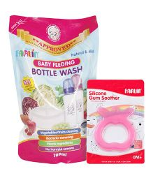 Farlin - Silicone Gum Soother AND Farlin Baby Feeding Bottle Wash Refill Pack - 700 ml