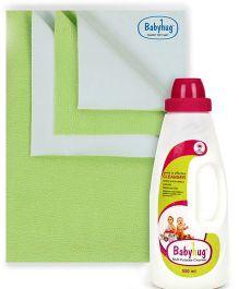 Babyhug Smart Dry Bed Protecting Sheet Green - Small AND Babyhug Liquid Multi Purpose Cleanser - 550 ml