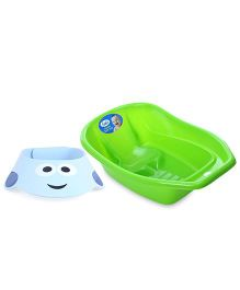 Littles Deluxe Bath Tub - Green AND Adore Shampoo Hat - Sky Blue