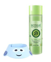 Adore Shampoo Hat - Sky Blue AND Biotique Bio Green Apple Tearproof Baby Shampoo - 120 ml