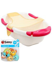 Sassy Bathtime Pals AND Farlin Dual Color Bath Tub With Net - Off White