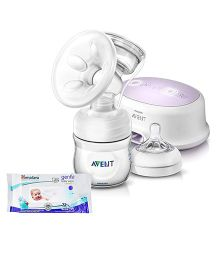 Avent Single Electric Breast Pump With PP Storage Cup AND Himalaya Herbal Gentle Baby Wipes 72 Pieces