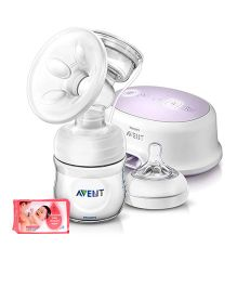 Avent Single Electric Breast Pump With PP Storage Cup AND Johnson's baby Skincare Wipes - 80 Pieces