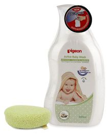 Pigeon Bath Sponge - Green AND Pigeon Baby Wash - 500 ml