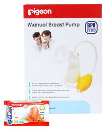Pigeon Baby Wipes 80 Pieces AND Pigeon - Manual Breast Pump