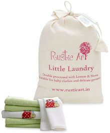 Lollipop Lane Bright Lady Bug Muslin Squares - Set of 6 AND Rustic Art Little Laundry Powder - 1 kg