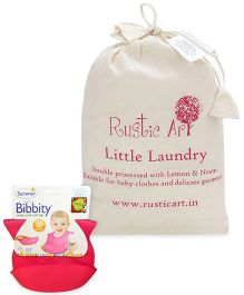 Summer Infant Bibbity Cup Molded Bib - Pink AND Rustic Art Little Laundry Powder - 1 kg
