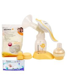 Medela Harmony Ergonomic Manual Breast Pump And Feed Set AND Himalaya Herbal Gentle Baby Wipes 72 Pieces