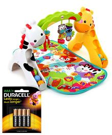 Fisher Price Newborn To Toddler Play Gym - Multi Color and Duracell AAA Size Batteries - Pack Of 4