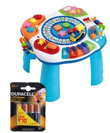 Winfun Letter Train And Piano Activities Table and Duracell AA Batteries - Pack Of 4