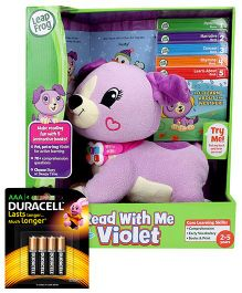 Leap Frog Read With Me Scout - Green Violet and Duracell AAA Size Batteries - Pack Of 4