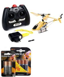 Modelart 3.5 IR Helicopter - Yellow and  Duracell AA Batteries - Pack Of 4 and Duracell AA Batteries - Pack of 2