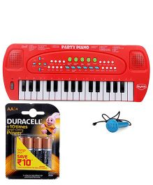 Mitashi Skykidz Party Piano With Microphones - Red and Duracell AA Batteries - Pack Of 4